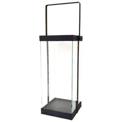 14 in. Modern Black Metal and Glass Lantern