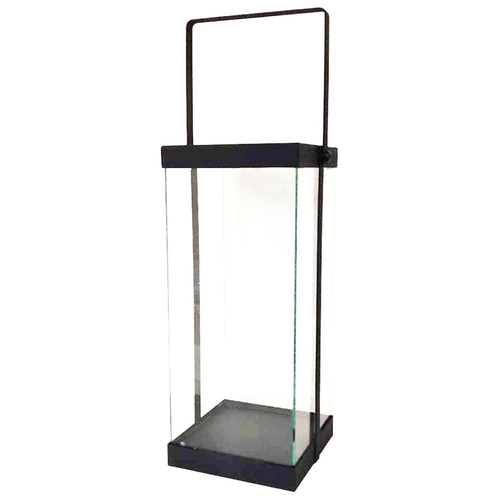 14 in. Modern Black Metal and Glass Lantern