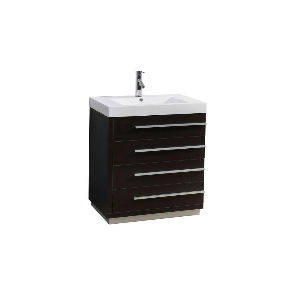 Virtu USA Bailey 30 in. W Vanity in Wenge with Poly-Marble Vanity ...