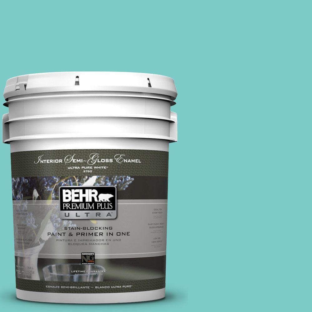 BEHR Premium Plus Ultra 5-gal. #BIC-39 Blue Green Gem Semi-Gloss Enamel Interior Paint