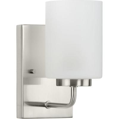 Merry Collection 1-Light Brushed Nickel Etched Glass Transitional Wall Light