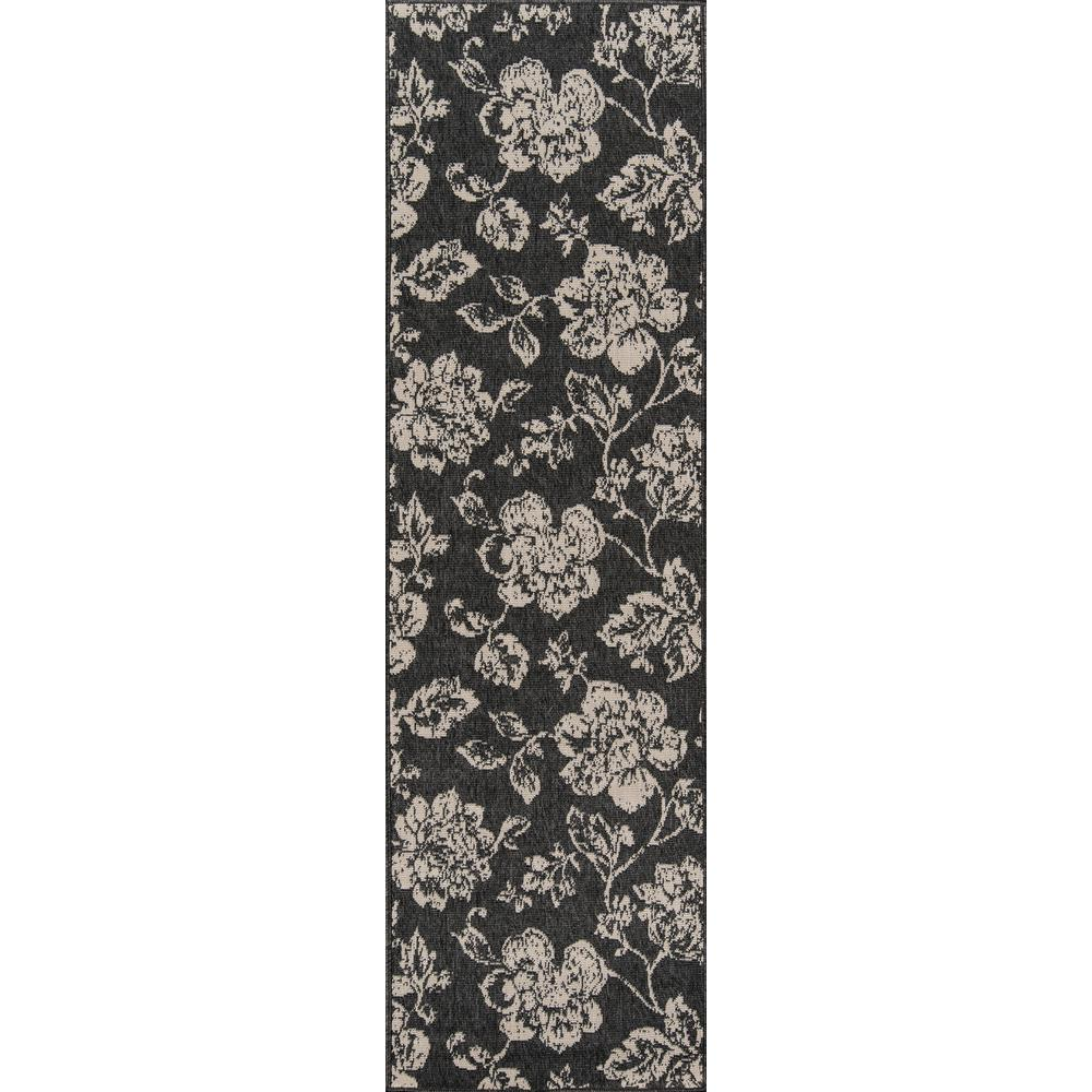 Baja Floral Blooms Black 2 ft. 3 in. x 7 ft.