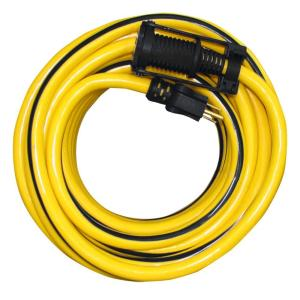 Tasco 100 ft. 10/3 SJTW Outdoor Extension Cord with E-Zee Lock and Lighted End, Yellow with Black Stripe by Tasco