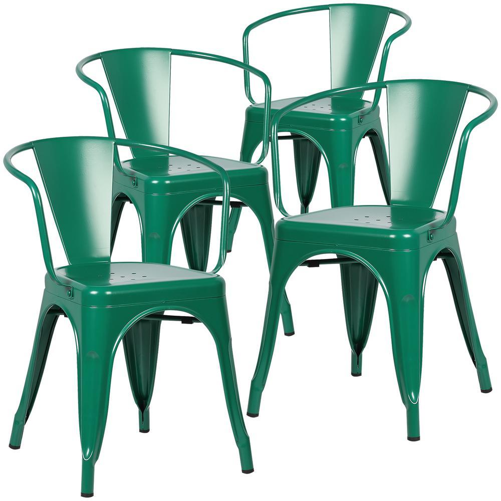 Poly and Bark Cantina Dark Green Arm Chair (Set of 4)  sc 1 st  Home Depot & Poly and Bark Cantina Dark Green Arm Chair (Set of 4)-HD-113-DGRN-X4 ...