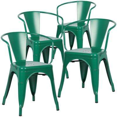 Cantina Dark Green Arm Chair (Set Of 4)