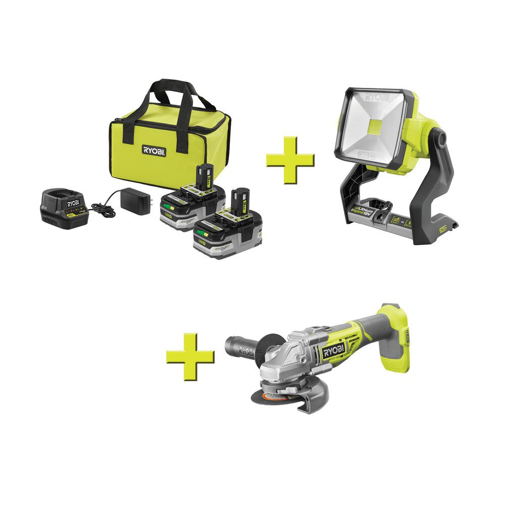 RYOBI 18-Volt ONE+ LITHIUM+ HP 3.0 Ah Battery (2-Pack) Starter Kit with Charger and Bagw/Bonus ONE+ Work Light & Angle Grinder