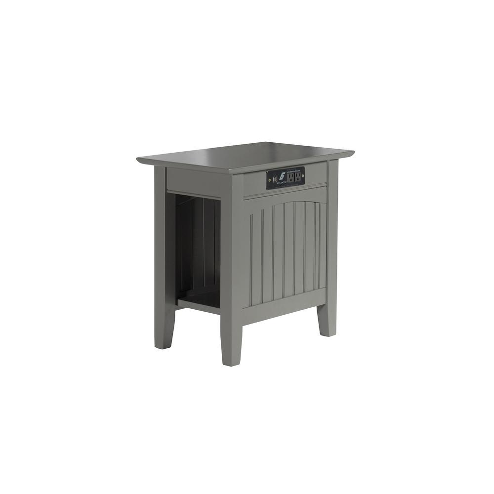 Nantucket Grey Chair Side Table with Charger