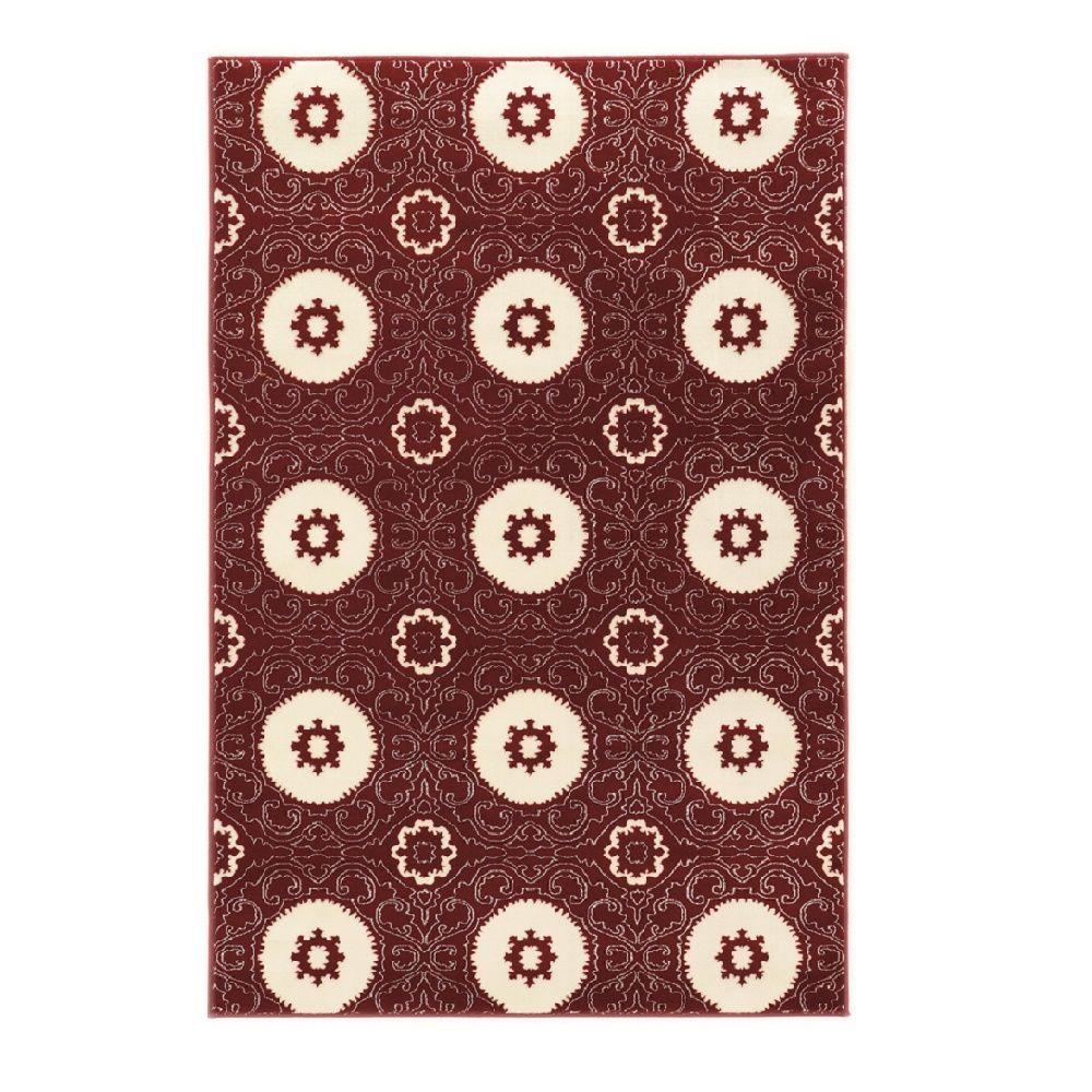 Linon Home Decor Prisma Karma Red and White 8 ft. x 10 ft. 4 in. Indoor Area Rug
