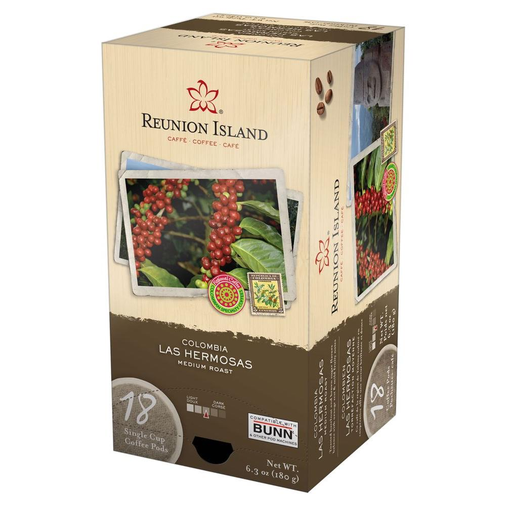 Reunion Island Colombia Las Hermosas Single Cup Coffee Pods, 18- count-DISCONTINUED