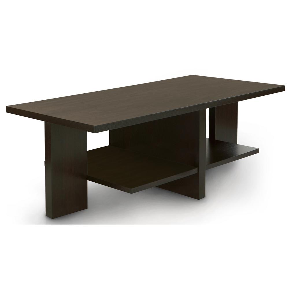 Hansel Cappuccino 2-Shelf Coffee Table