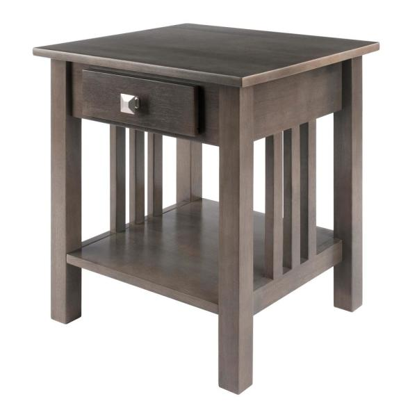Stafford 19.92 in. W Oyster Gray End Table