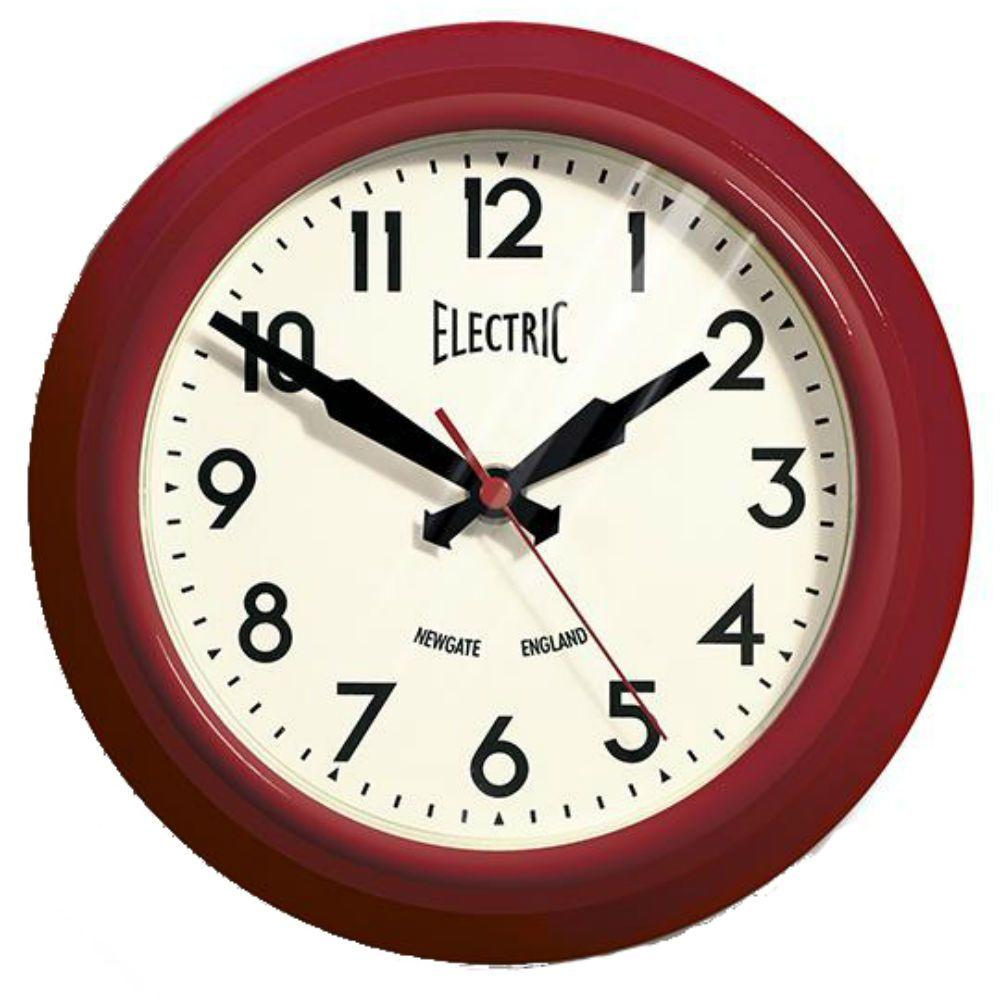 Home Decorators Collection 1950's 8.45 in. H Red Gloss Wall Clock