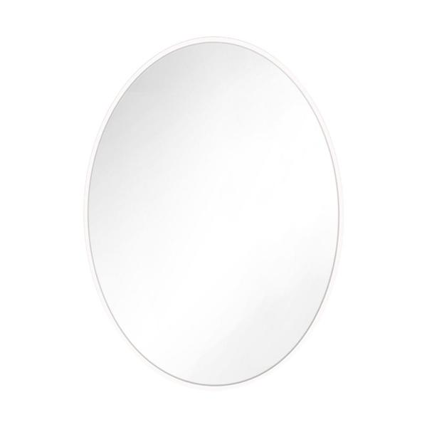 Kit 36 in. x 24 in. Matte White Transitional Oval Mirror