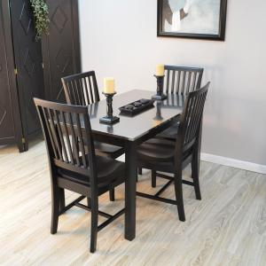 Internet #206682582. Carolina Cottage Carter Black Stainless Steel Top  Dining Table