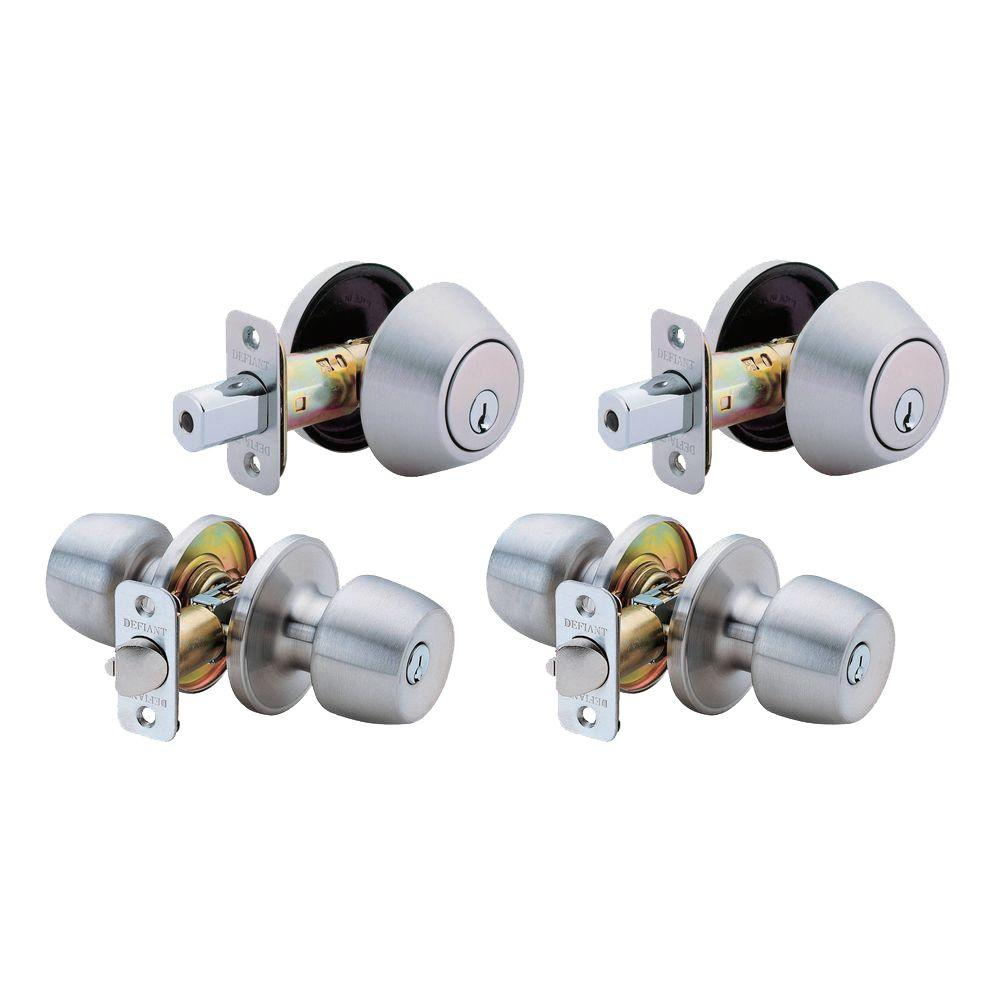 Entry Door Knob Keyed Lock Single Cylinder Stainless Steel