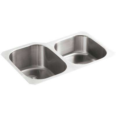 Undertone Undermount Stainless Steel 31 in. Double Bowl Kitchen Sink