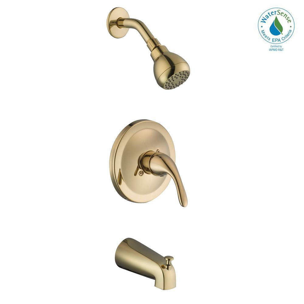 Builders Single-Handle 1-Spray Tub and Shower Faucet in Polished Brass (Valve