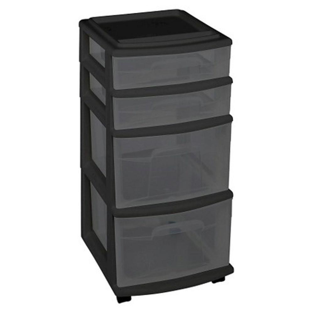 Homz 4 Drawer Medium Plastic Wheeled Cart in Smoke Gray