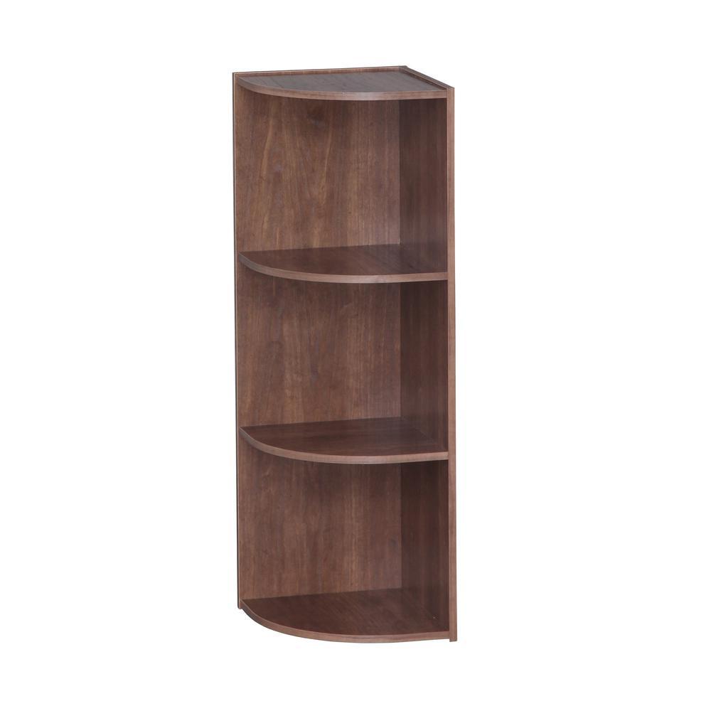 Brown 3-Tier Corner Curved Shelf Organizer