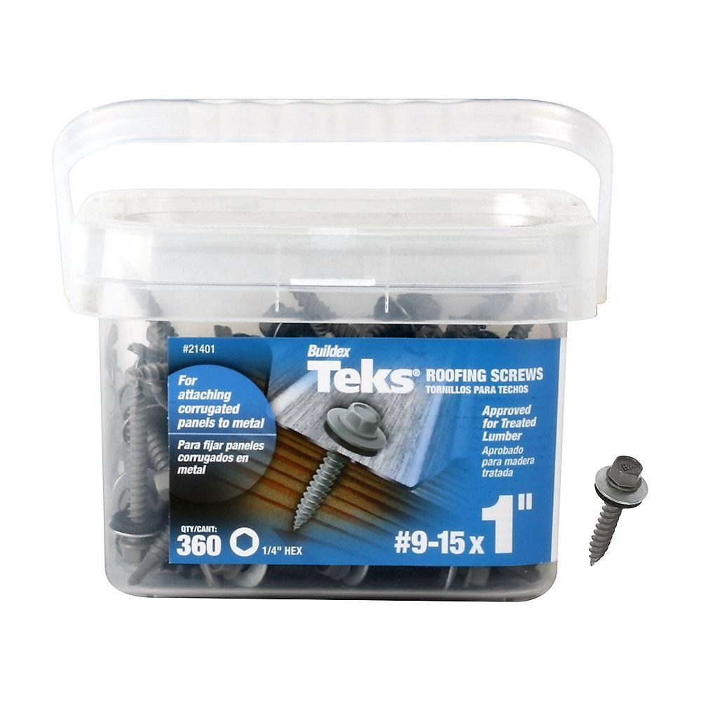 Teks #9-15 x 1 in. Hex Washer Head Sharp Point Roofing Screw (360-Pack)