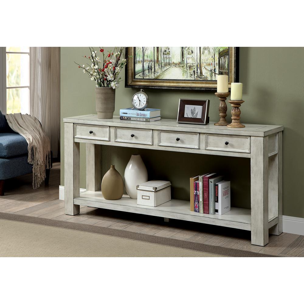 America Alexis Antique White Sofa Table