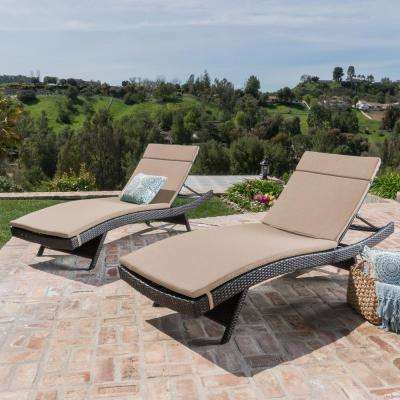 Salem Multi-Brown 4-Piece Wicker Outdoor Chaise Lounge with Textured Beige Cushions
