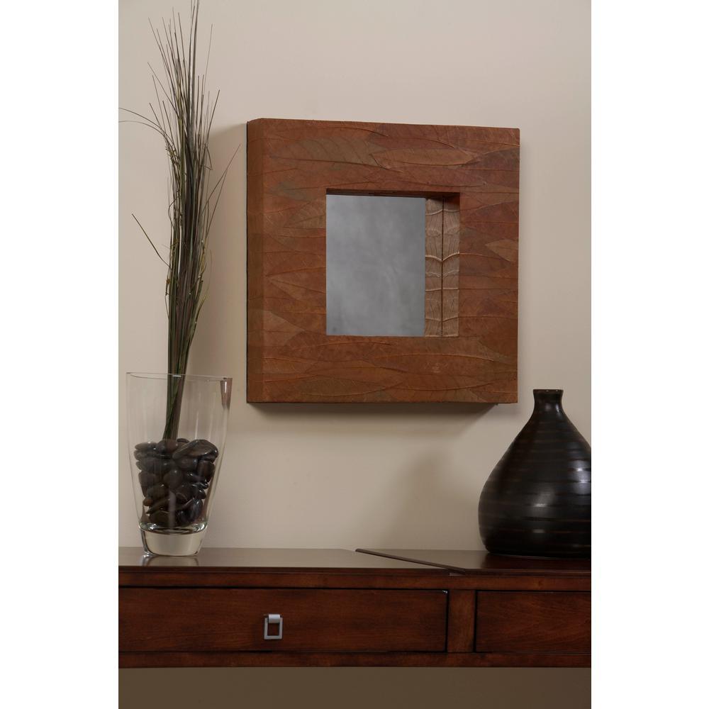 Linon Home Decor Mahogany Leaf Square Mirror-AOTO-MIR019SQ