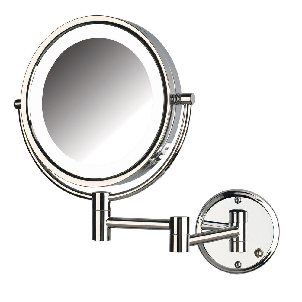 Jerdon 11 in. x 14 in. Bi-View LED Lighted Wall Makeup Mirror