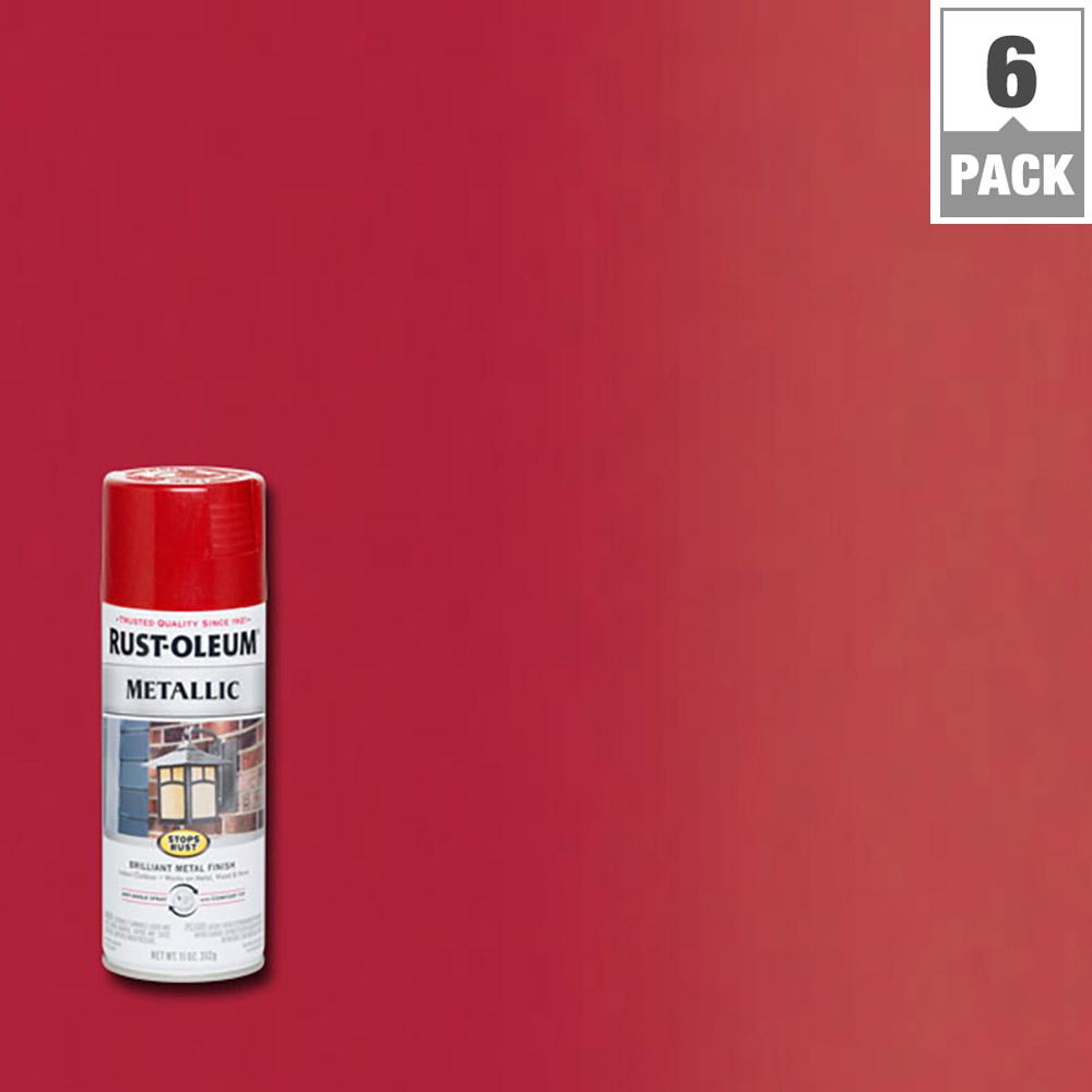 Rust-Oleum Stops Rust 11 oz. Protective Enamel Metallic Apple Red Spray (6-Pack)