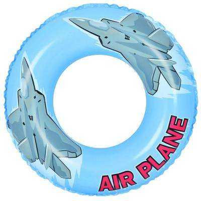 30 in. Blue and Gray Airplane Inflatable Inner Tube Float