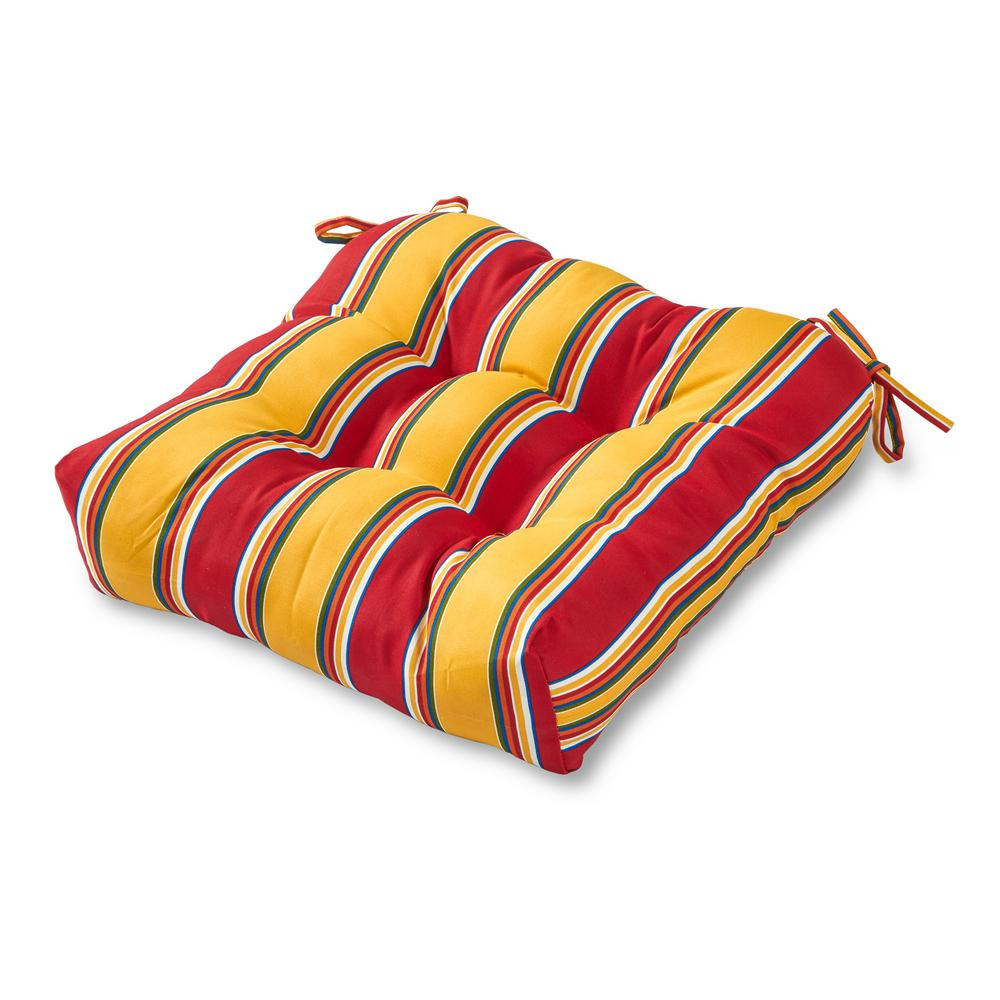 Greendale Home Fashions Carnival Stripe Square Tufted Outdoor Seat Cushion