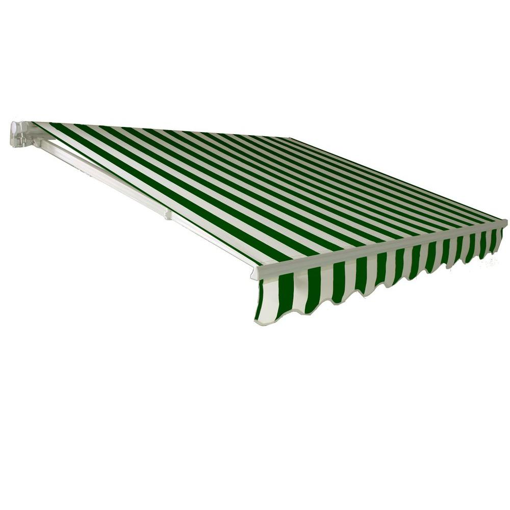 Beauty-Mark 12 ft. California DX Model Manual Retractable Awning (120 in. Projection) in Forest Green/White