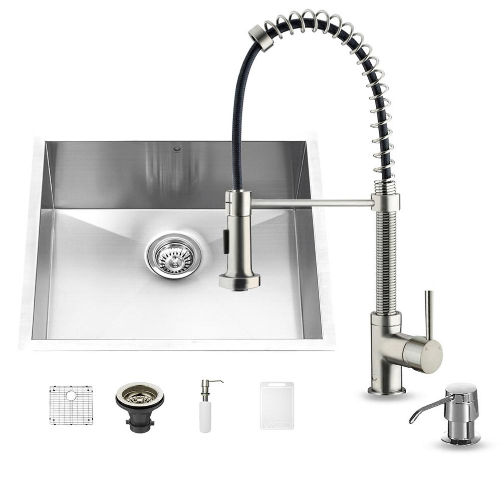 VIGO All-in-One Undermount Stainless Steel 23 in. 0-Hole Single Basin Kitchen Sink and Faucet Set in Stainless Steel