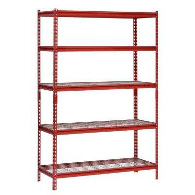 48 in. W x 24 in. D x 72 in. H 5-Shelf Z-Beam Boltless Steel Shelving Unit in Red