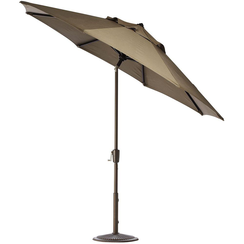 Home Decorators Collection 11 ft. Auto-Tilt Patio Umbrella in Heather Beige Sunbrella with Bronze Frame