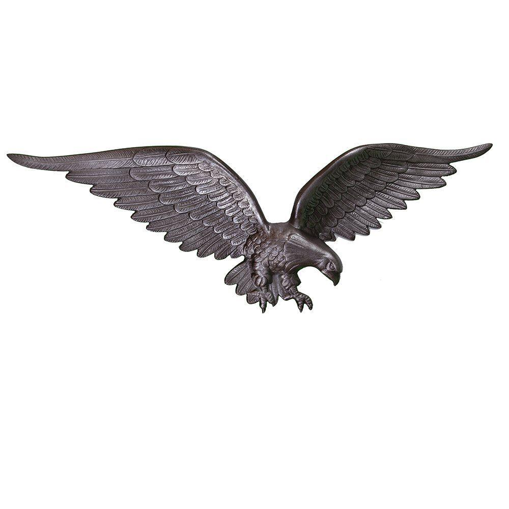 Montague Metal Products 24 in. Swedish Iron Wall Eagle Montague Metal Products wall eagles are hand crafted and sand cast in Montague, Michigan. All castings are made of rust resistant repurposed aluminum, hand finished and coated with a weather resistant paint to insure a lifetime of enjoyment. These eagles have an approximately 24 in. wingspan and stand 8 in. tall with an approximate depth of 2 in. to 3 in.