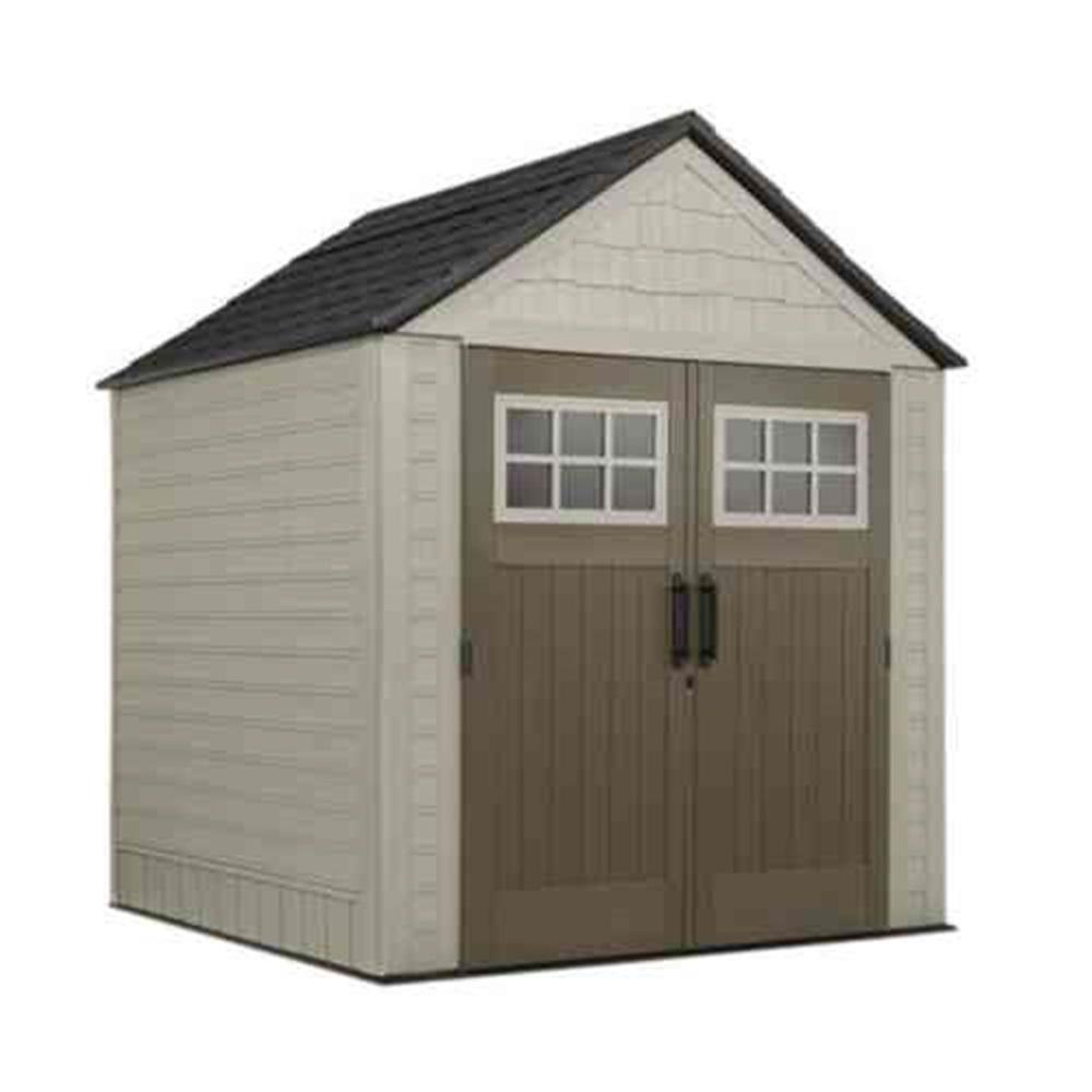 Rubbermaid Rubbermaid Big Max 7 ft. x 7 ft. Storage Shed with Free Utility Hook, Browns / Tans