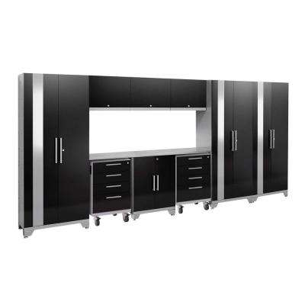 Performance 2.0 77.25 in. H x 162 in. W x 18 in. D Steel Stainless Steel Worktop Cabinet Set in Black (10-Piece)