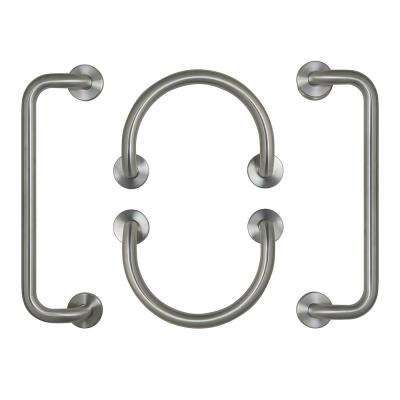 12 in. Circle Grab Bars in Brushed Stainless Steel and 20 in. Dual Bent Grab Bars in Brushed Stainless Steel