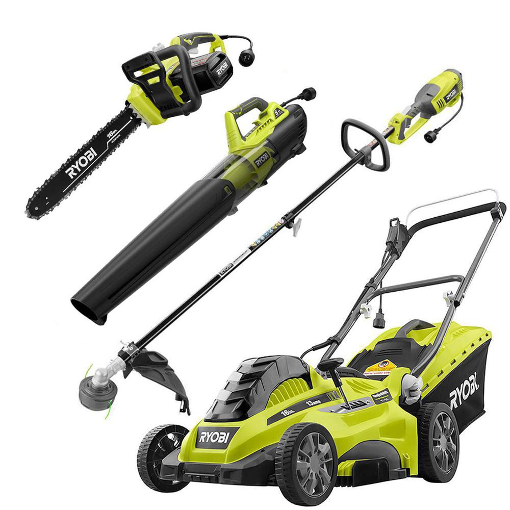 RYOBI 16 in. 13 Amp Corded Electric Walk Behind Push Mower/Blower/Chainsaw/String Trimmer Kit (4-Tool)