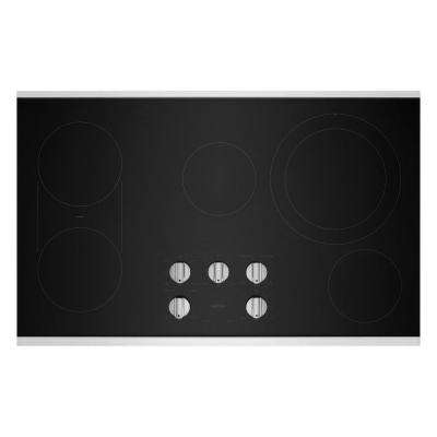 36 in. Radiant Electric Cooktop in Stainless Steel with 5 Elements and Reversible Grill, Griddle