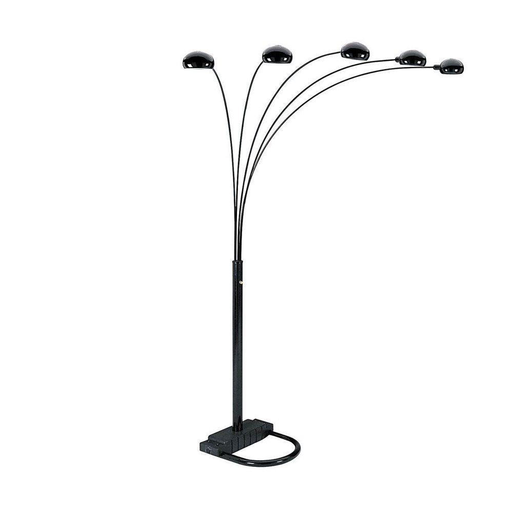 Ore international 84 in 5 arms arch black floor lamp 6962bk the 5 arms arch black floor lamp aloadofball Choice Image