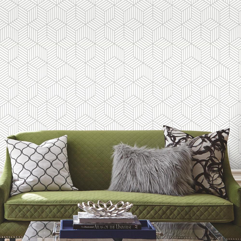RoomMates 28.18 sq. ft. Stripped Hexagon White/Grey Peel ...