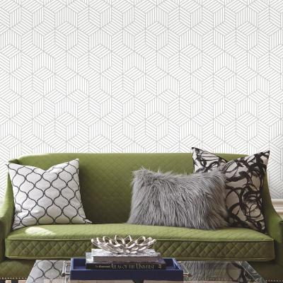 28.18 sq. ft. Stripped Hexagon White/Grey Peel and Stick Wallpaper