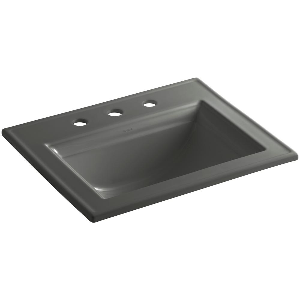 KOHLER Memoirs Stately Drop-In Vitreous China Bathroom Sink in Thunder Grey  with Overflow Drain