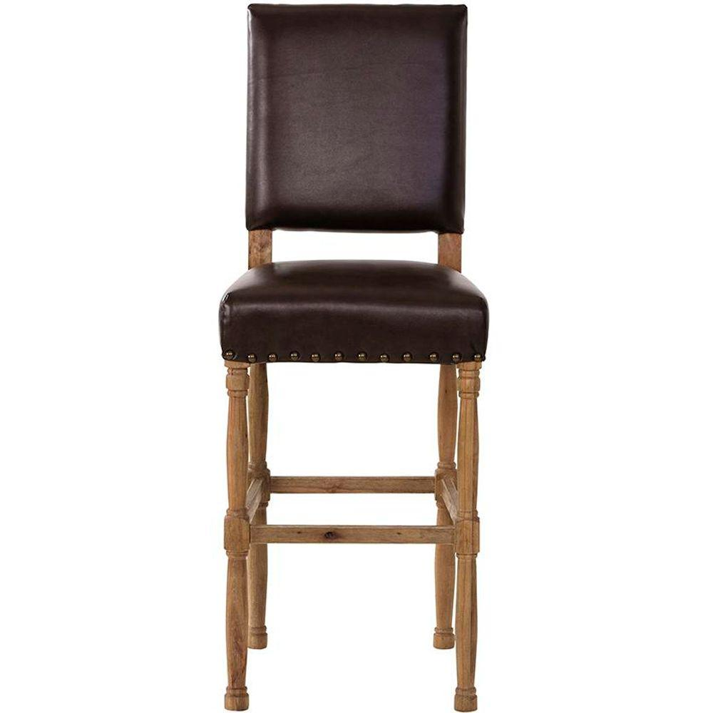 Home Decorators Collection Cane Brown Leather Bar Stool