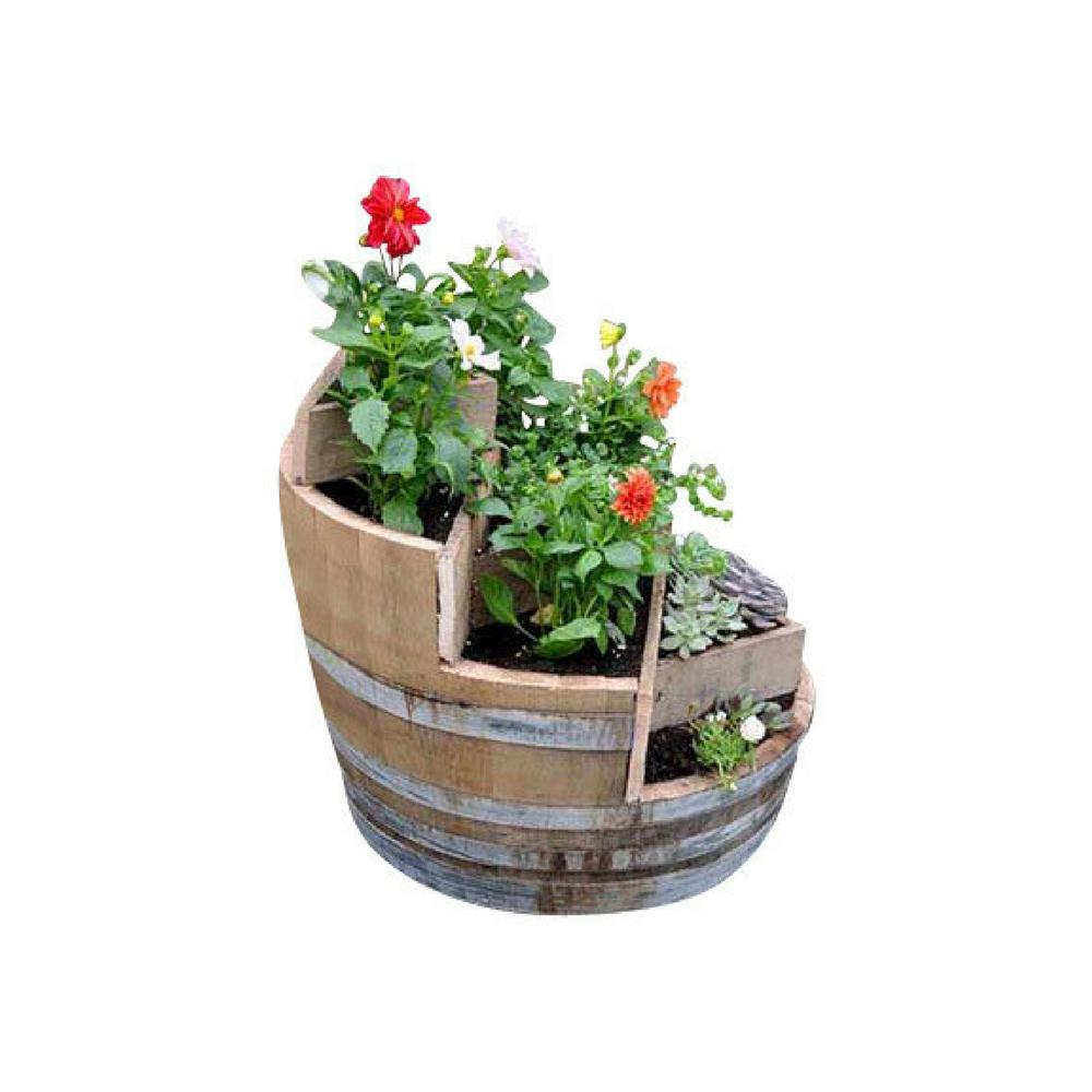 26 in. W 32 in. H Multi-Tiers Barrel Planter with 3-Triangle