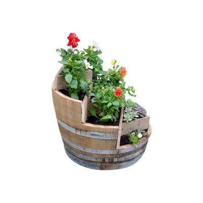 26 in. W 32 in. H Multi-Tiers Barrel Planter with 3-Triangle Beds