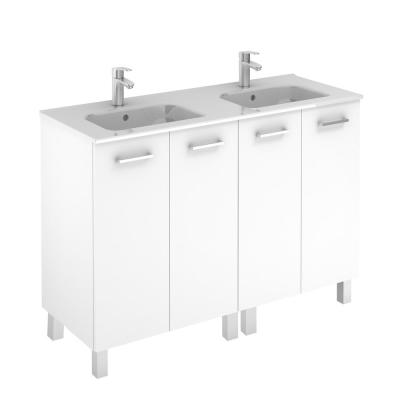 Logic 47.3 in. W x 18.0 in. D x 33.0 in. H Bath Vanity in Glossy White with Vanity Top and Ceramic White Basin