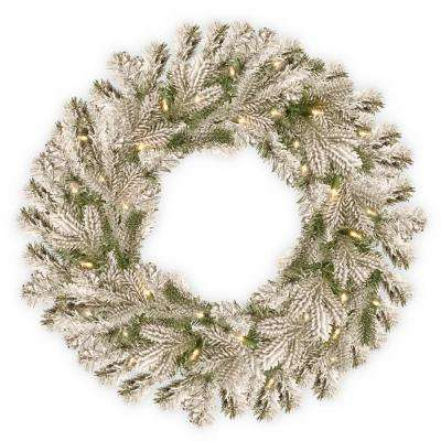 24 in. Battery Operated Snowy Sheffield Spruce Wreath with Warm White LED Lights